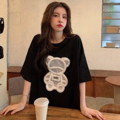 Guajillo - Elbow-Sleeve Bear Embellished T-Shirt