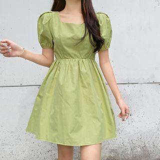 Amyway - Short-Sleeve Plain A-Line Dress
