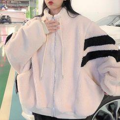 Mushini - 雙色絨質拉鏈外套
