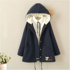Angel Love - Cat Embroidered Fleece Lined Hooded Jacket
