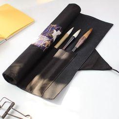 Ponyi - Crane Print Panel Rolling Pencil Case