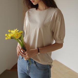 JUSTONE(ジャストワン) - Puff-Sleeve Cotton T-Shirt