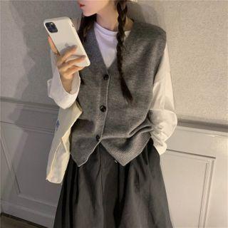 Moon City - Long-Sleeve T-Shirt / Button-Up Vest / Midi A-Line Skirt