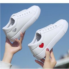 Satomi - Heart Lace Up Sneakers