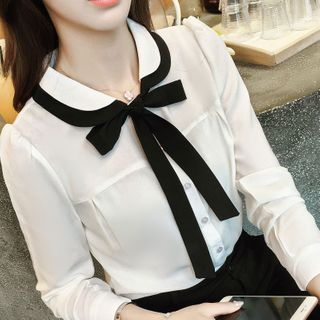 In the Mood - Contrast Trim Tie-Neck Blouse