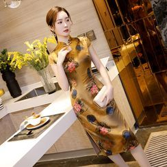 Janelle Qipao - Short-Sleeve Floral Print Qipao