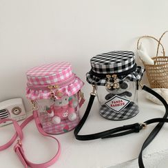 OUCHA - Gingham Paneled Animal PVC Bucket Bag