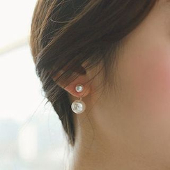 Zundiao - Faux Pearl Double-Stud Earrings