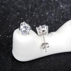 Zundiao - Sterling Silver Rhinestone Earrings
