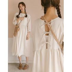 GOROKE - Beribboned Slit-Back Long Dress