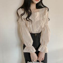 Windcatcher - Lace Trim Ruched Bell-Sleeve Blouse