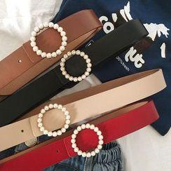 CIMAO - Faux Pearl Faux Leather Holeless Belt