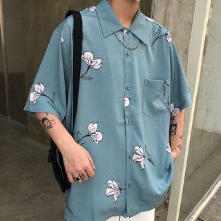 Banash(バナッシュ) - ひじ丈フローラルプリントシャツ