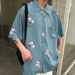 Banash - Elbow-Sleeve Floral Print Shirt