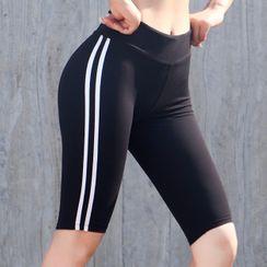 Vortego - Stripe-Side Biker Shorts