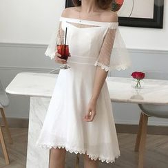 Ashlee - Elbow-Sleeve Lace Panel A-Line Dress