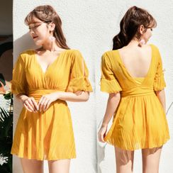 Smilia - Open-Back V-Neck Short-Sleeve Swimdress