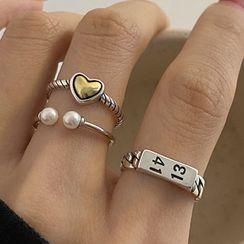 Korrs - 925纯银爱心 / 数字 / 仿珍珠开口戒指