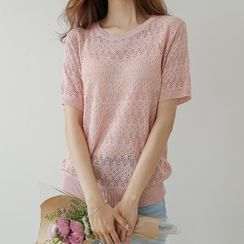 JUSTONE - Linen-Blend Pointelle-Knit Top