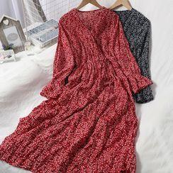 Oneiroi - Floral Long-Sleeve Midi A-Line Dress