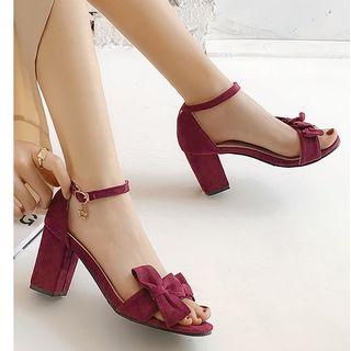 Freesia(フリージア) - Faux Suede Open Toe Chunky Heel Sandals