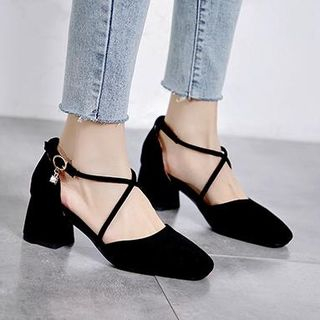 Freesia(フリージア) - Faux Suede Crossover Strap Block Heel Pumps