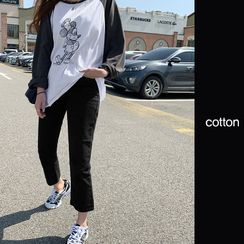 NANING9 - Straight-Cut Cotton Pants
