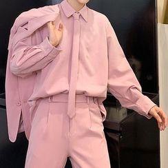 ANCHO - Plain Blazer / Plain Shirt With Neck Tie / Dress Pants / Trench Coat