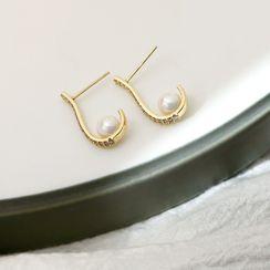 Infini - Faux Pearl Alloy Dangle Earring