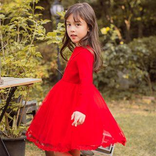 Youtale - Kids Long-Sleeve Knit Panel Mini A-Line Mesh Dress
