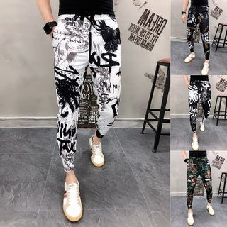DuckleBeam - Cropped Printed Tapered Pants