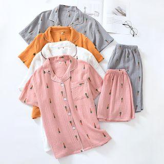 Somnus - 家居服套装: 红萝卜印花短袖衬衫 + 短裤