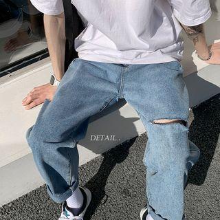 EOW(イーオーダブリュ) - Distressed Wide-Leg Jeans