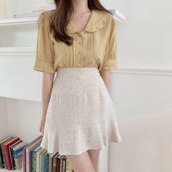 Yunhouse - 短袖荷葉襯衫