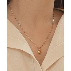 Miss21 Korea(ミス21コリア) - Heart Pendant Silver Necklace