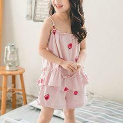 Hobab - 小童家居服套装: 草莓印花细肩带上衣 + 短裤
