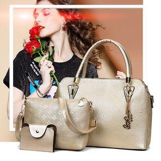 Mayanne - Set of 3: Embossed Faux Leather Handbag + Shoulder Bag + Wallet
