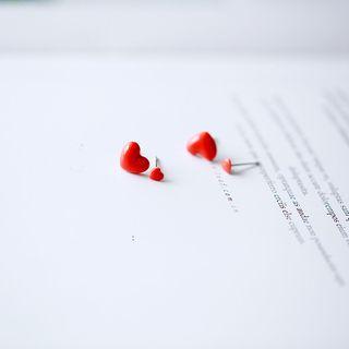 Heliotrope - Ceramic  Heart Stud Earring