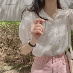 CHERRYKOKO - Puff-Sleeve Embroidery Blouse