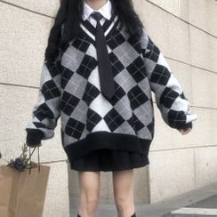 Malnia Home - Argyle Sweater / Shirt / Pleated A-Line Skirt