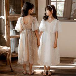 Cynanne - Kids Mesh Short-Sleeve Midi A-Line Dress