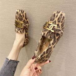 The Shoe House - Leopard Print Faux Fur Loafers