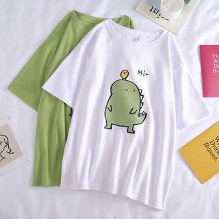 Dreamelon - Cartoon Print Short-Sleeve T-Shirt