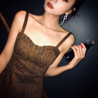 Street of Seoul - 蟒蛇圖案幼肩帶A字迷你連衣裙