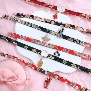 Admae - 合金饰物印花布艺贴脖项链 (多款设计)