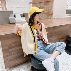 Lilad - Color-Block Loose-Fit Knit Vest