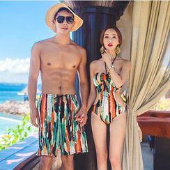 Salanghae - 情侶款印花連體泳衣/泳褲