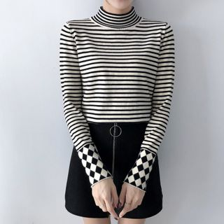 Norte - Mock Neck Striped Knit Top