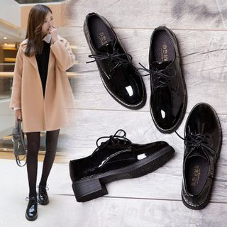 Belbie - Faux Leather Block-Heel Lace-Up Shoes