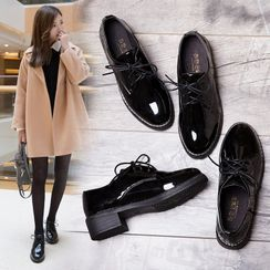 Belbie(ベルビー) - Faux Leather Block-Heel Lace-Up Shoes